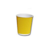 Стакан картонный гофрированный 175мл желтый (25шт/уп)