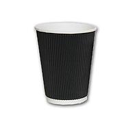 Гофрированный стакан Черный 400мл. 25 шт./уп.