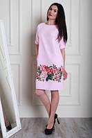 Розовое платье увеличенных размеров, с цветочным принтом, из качественной турецкой ткани