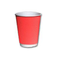 Гофрированный стакан Красный 400мл. 25 шт./уп.