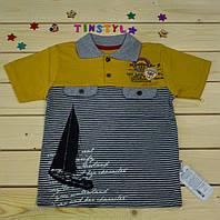 Стильное поло Моряк горчичного цвета  для мальчика  6-8-10 лет