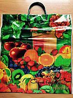 Цветной полиэтиленовый пакет с пластиковой навесной ручкой 37*40 см Фрукты