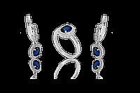 НАБОР серебряные серьги 925 пробы и кольцо  ТАИСИЯ