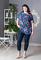 Блузка большого размера с цветочным принтом
