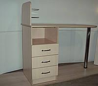 """Маникюрный стол c стеклянными полочками под лак """"Эстет  №1"""" дуб молочный"""