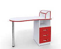 """Маникюрный стол-трансформер """"Эстет компакт №3"""" белый с красными фасадами, фото 1"""