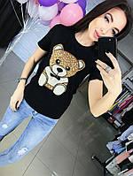 """Женская милая футболка с мишкой """"Moschino"""" (2 цвета)"""