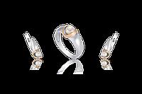 НАБОР серебряные серьги 925 пробы и кольцо с золотыми пластинами 375 пробы,вставками,накладками ЗОЛОТА ЛЮДМИЛА