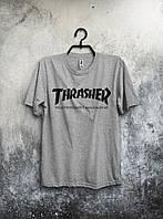 Хлопковая светло-серая футболка Thrasher  .