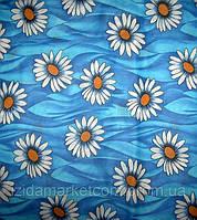 Ткань постельная Большая Ромашка С Желтой Серединкой На синем