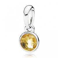 Подвеска из серебра с цитрином, талисман Ноября Pandora, 390396CI