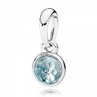 Подвеска из серебра с голубым кристаллом, талисман Марта Pandora, 390396NAB