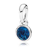 Подвеска из серебра с синим кристаллом, талисман Декабря Pandora, 390396NLB