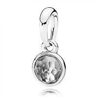 Подвеска из серебра с горным хрусталем, талисман Апреля Pandora, 390396RC