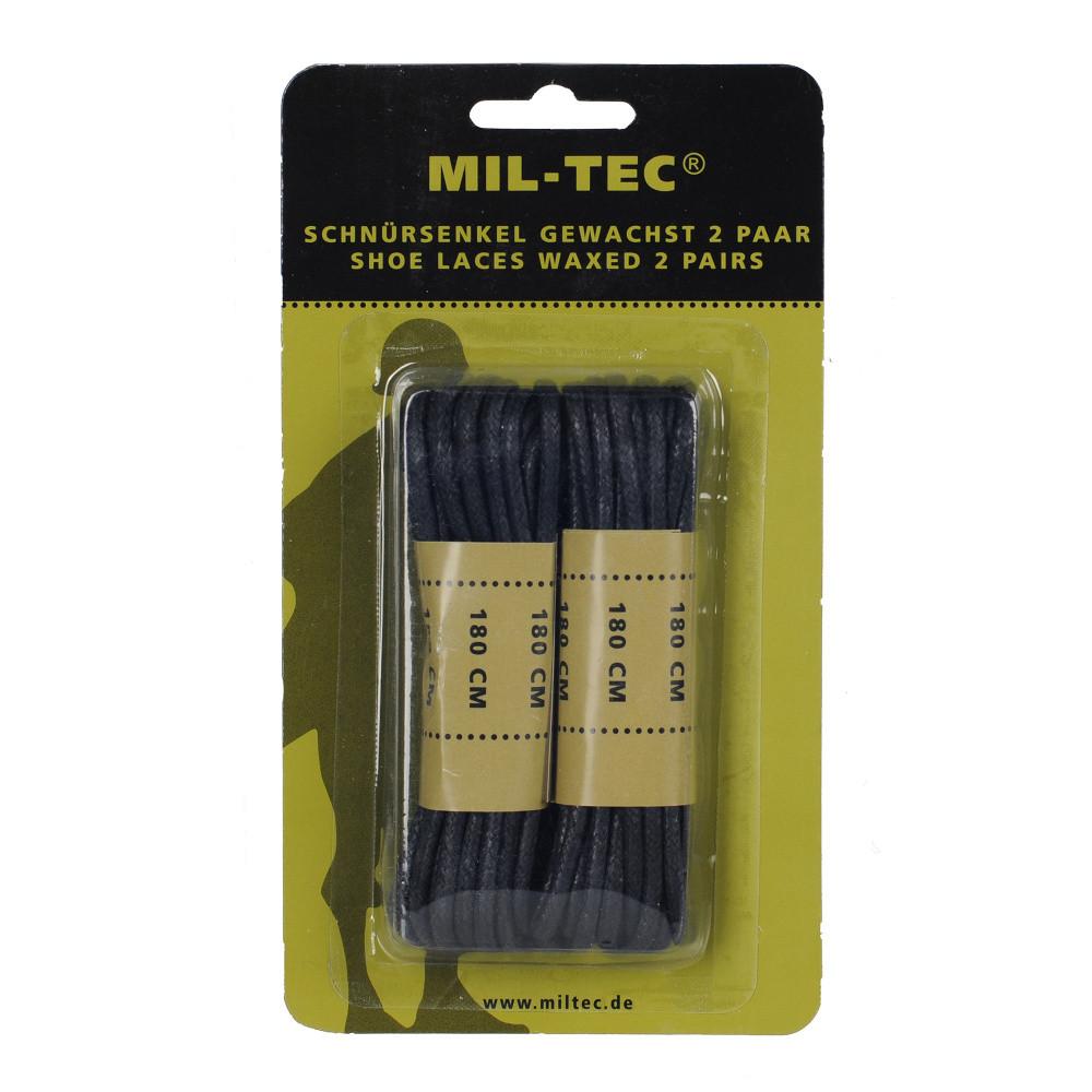 Шнурки вощеные MIL-TEC 180см черные - Шерман в Киеве