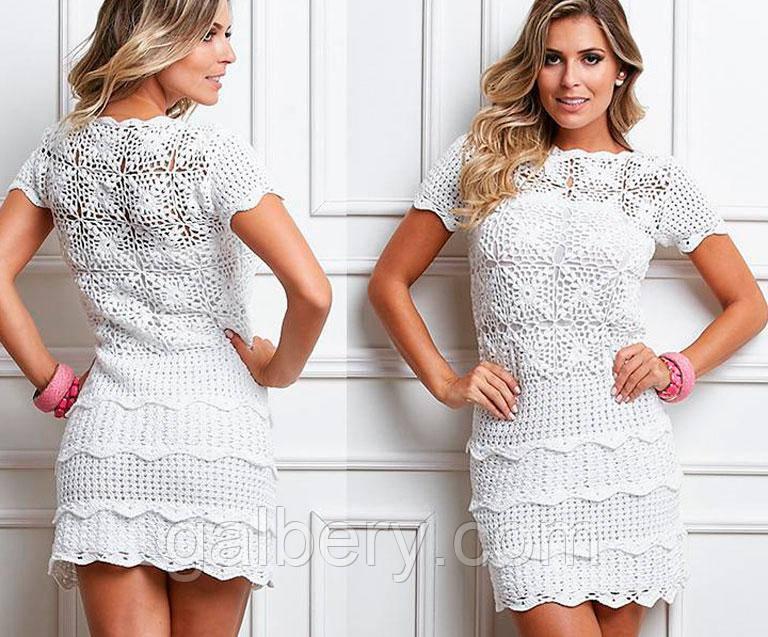 d635784f6ed Белое вязаное крючком платье с ажурными принтами