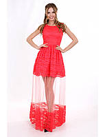 Выпускное платье из кружева шантильи и сетки 2 цвета