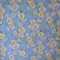 Синтетика бязь Ромашки на голубом