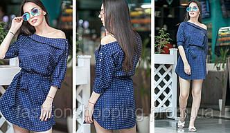 Женско стильное летнее платье-рубашка с поясом (3 цвета)