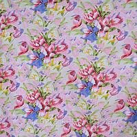 Постельные ткани оптом микрофибра Букет на розовом