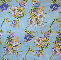 Купить постельные ткани оптом Букеты на голубом
