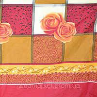 Ткань синтетика Роза на квадрате красном