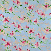 Дешевая синтетика Розовая лилия на голубом