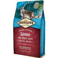 Сухой корм Carnilove Cat Salmon Sensitive & Long Hair для кошек. Беззерновой  2 кг.
