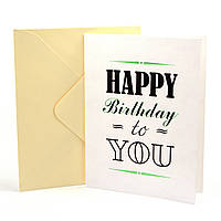 Открытка Happy Birthday to You с тиснением и элементами цвета металлик