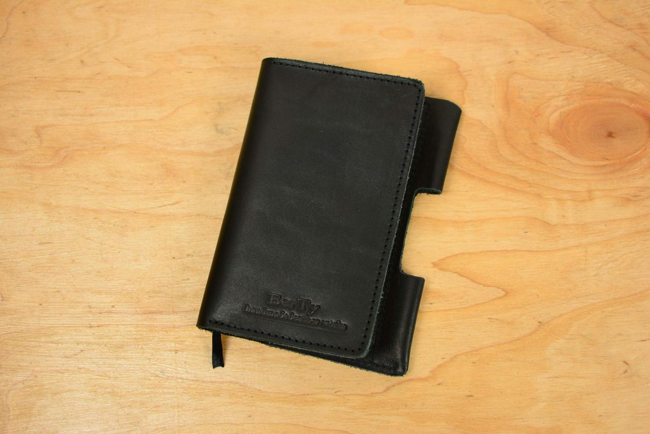 Обкладинка для Блокнота 14 х 9 см. (A6) Шкіра італійський Краст колір Чорний