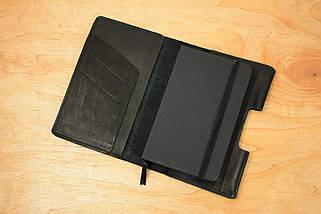 Обложка для Блокнота 14 х 9 см. (A6) Кожа итальянский Краст цвет Черный, фото 2