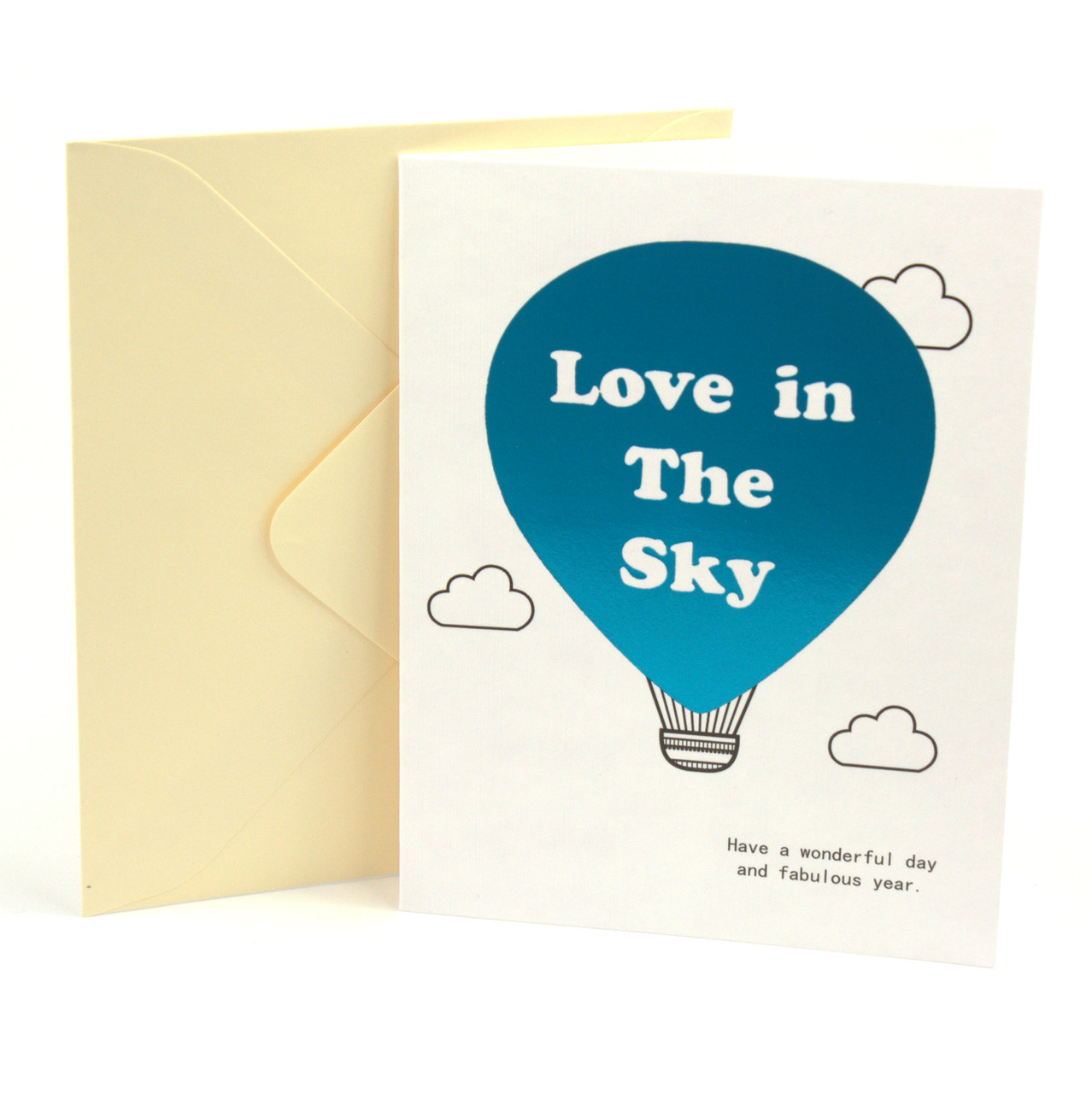 Открытка Love in The Sky с тиснением и элементами цвета металлик