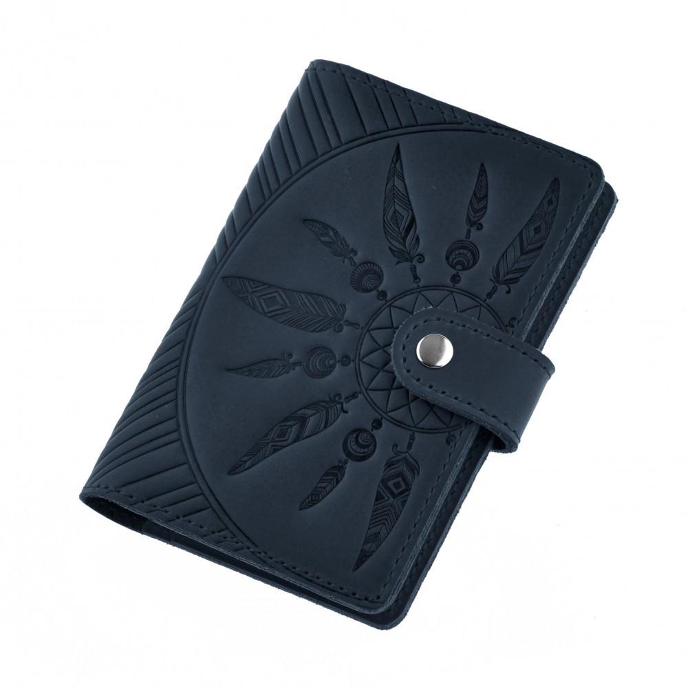 Обложка для паспорта кожаная синяя (ручная работа)