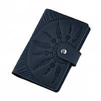 Обложка для паспорта кожаная синяя (ручная работа), фото 1