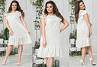 """Летнее шелковое платье прямого кроя """"Kristall"""" с карманами и оборкой (большие размеры)"""