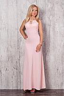 Женское cтильное макси-платье цвет пудра размер 42-48