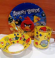"""Стеклянный набор детской посуды с героями мультфильмов""""Энгри Бердз""""."""