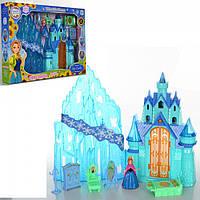Кукольный домик Замок Frozen, принцессы, муз, свет, мебель, фигурка, на бат(табл), в кор