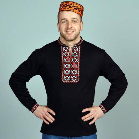 Вышитая мужская футболка с длинным рукавом, фото 2