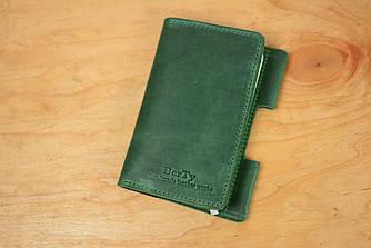 Обложка для Блокнота 14 х 9 см. (A6) Винтажная кожа цвет Зеленый