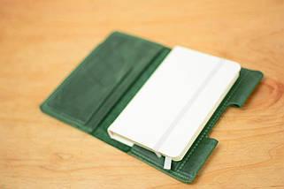 Обкладинка для Блокнота 14 х 9 см. (A6) Вінтажна шкіра колір Зелений, фото 3