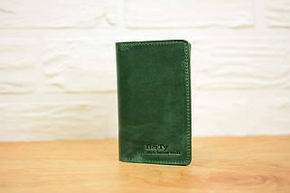 Обкладинка для Блокнота 14 х 9 см. (A6) Вінтажна шкіра колір Зелений, фото 2