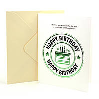 Открытка Happy Birthday с тиснением и элементами цвета металлик