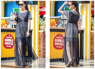 Женское стильное платье в полоску с сеткой