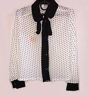 Белая блуза с черным воротником для девочки в школу 051