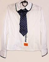 Белая блуза со съемным галстуком  для девочки в школу 053