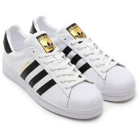Кроссовки мужские Adidas Superstar White/Black/Gold, адидас суперстар, реплика