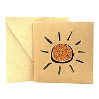 """Открытка """"Солнышко"""" из крафт картона декорированная блестками + конверт"""