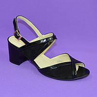 Женские черные босоножки на устойчивом каблуке, натуральная замша и лаковая кожа. 37 размер