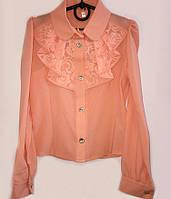 Нарядная блуза для девочки в школу с гипюровым жабо 056